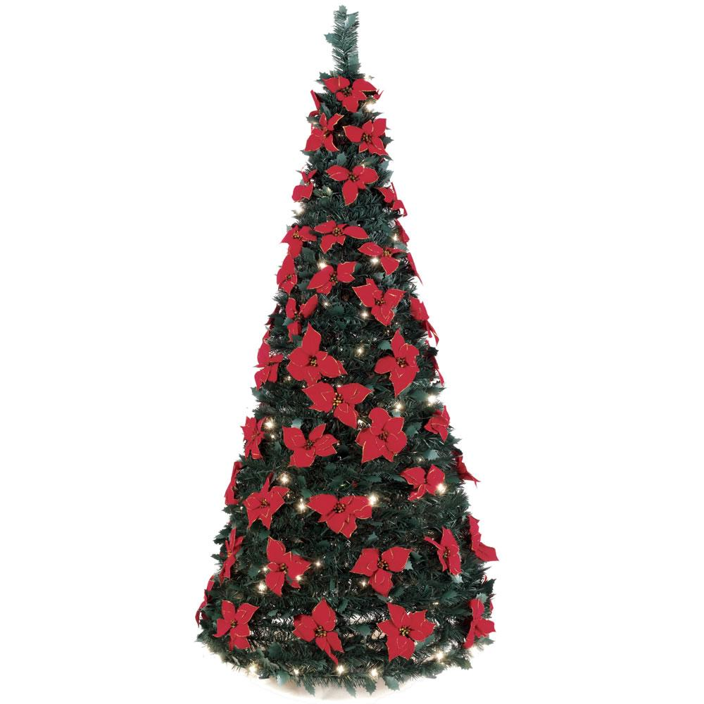 6 Foot Instant Pop Up Lighted Poinsettia Artificial